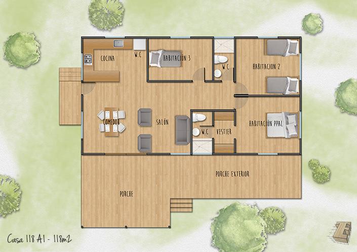 plano de casa de madera