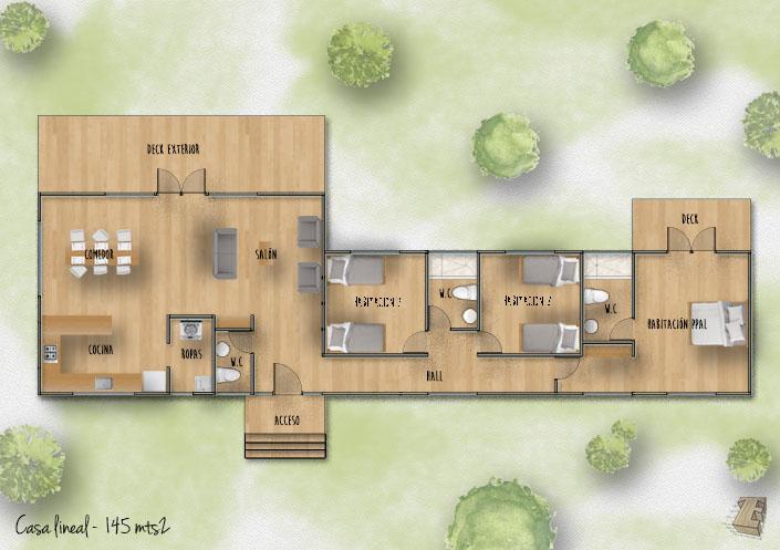Planta casa lineal