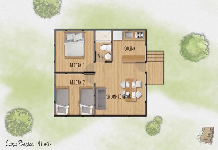 plano de casa prefabricada de madera